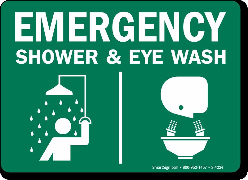 Eye Wash Shower Combination Signs Eyewash Signage