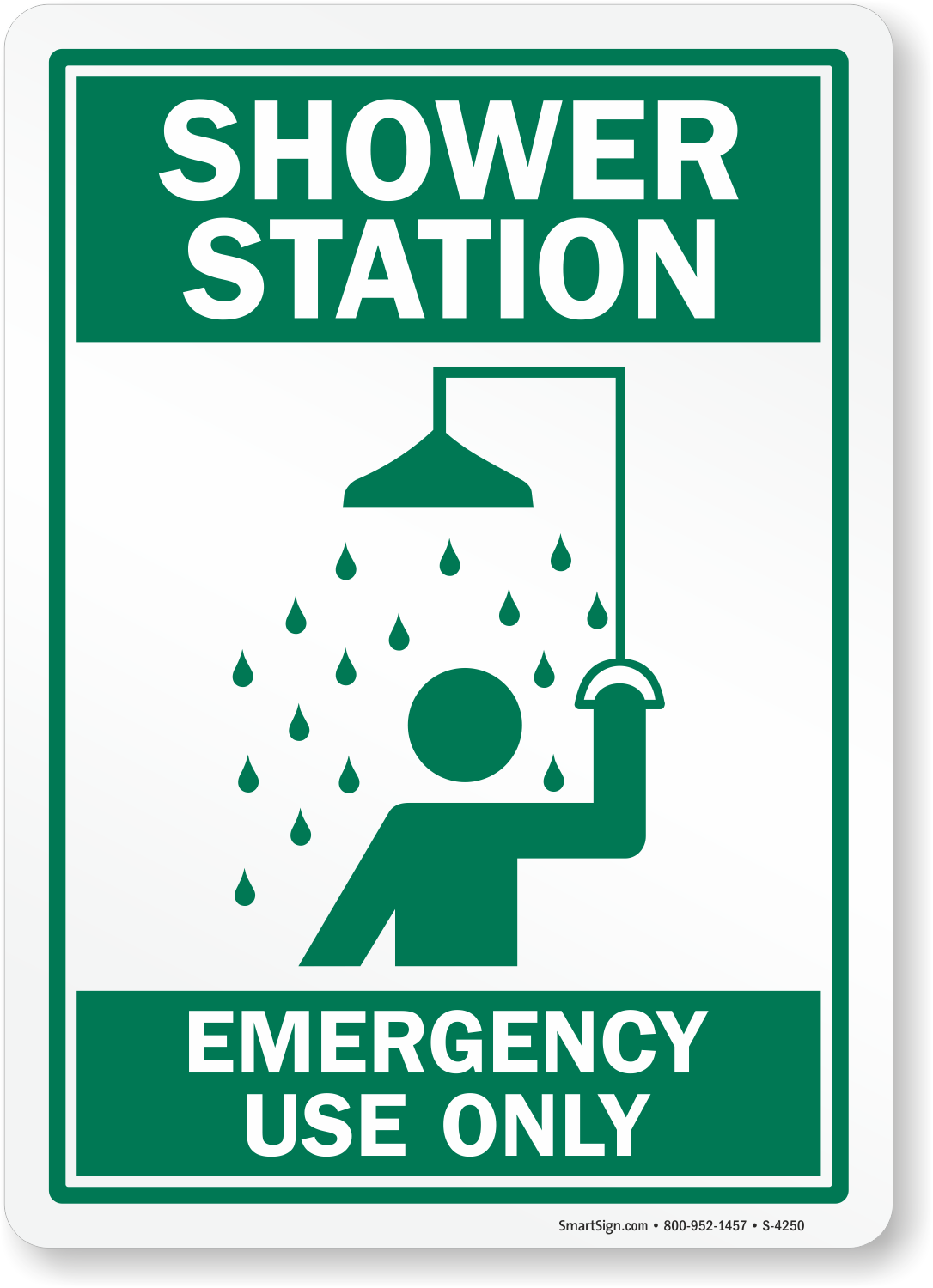 Safety Shower Emergency Use Only Sign Sku S 4250