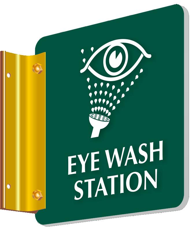 Eye Wash Station 2 Sided Engraved Corridor Sign Sku