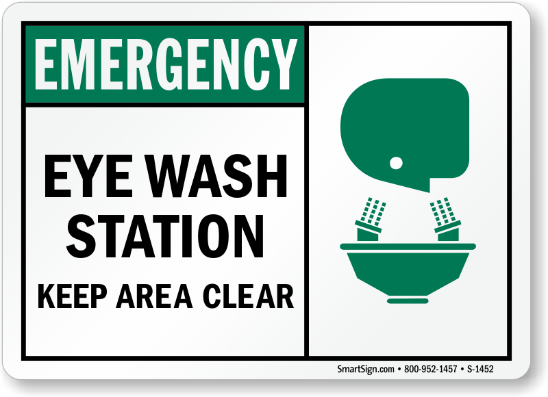 Eye Wash Station Keep Area Clear Sign Sku S 1452