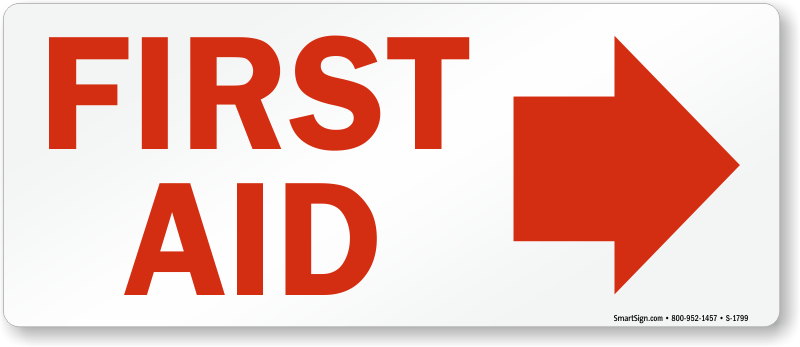 First Aid Sign with Red Right Arrow Symbol, SKU: S-1799 ...