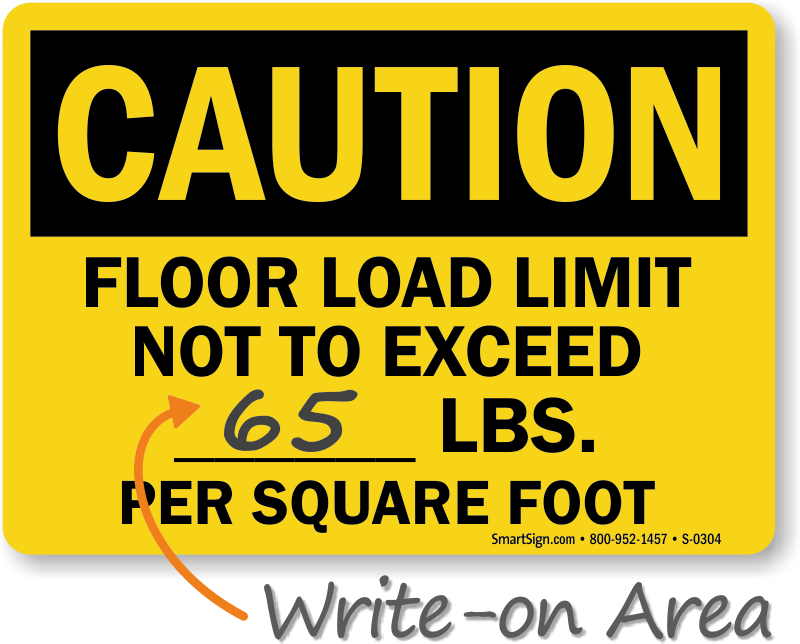 Floor Load Limit Add Own Lbs Sign Fairly Priced Sku