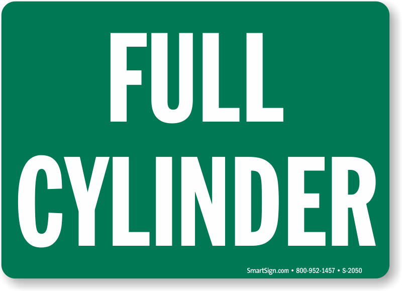 Full Cylinder Sign In Plastic Aluminum And Magnetic Sku