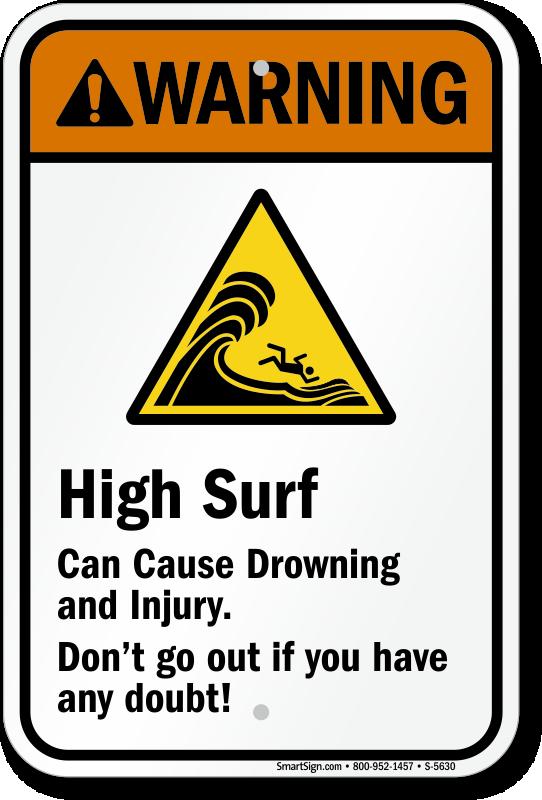 warning high surf can cause drowning and injury sign sku
