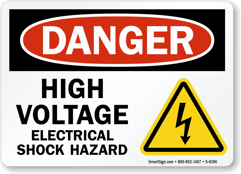 Electrical Safety Signs : High voltage electrical shock hazard sign osha compliant