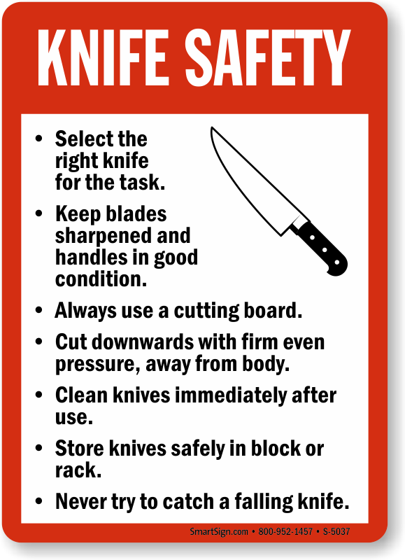 Knife safety guidelines sign food and kitchen safety for 3 kitchen safety rules