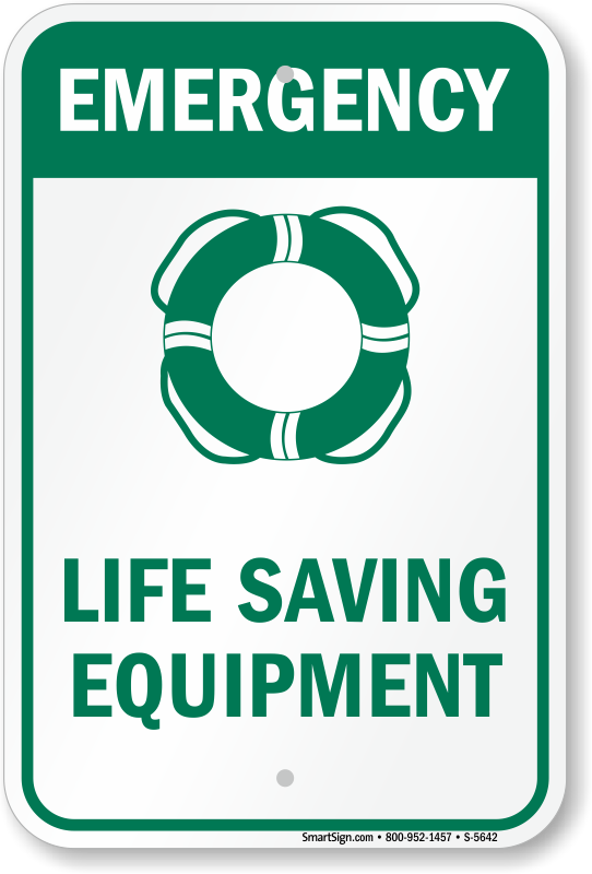 Emergency Life Saving Equipment Sign With Pool Ring Symbol