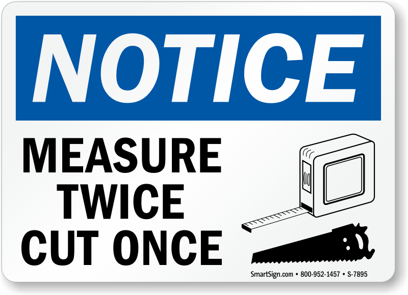Measure Twice Cut Once OSHA Notice Sign | Best Prices, SKU