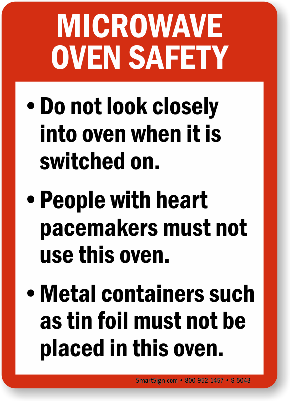 Microwave oven guidelines food and kitchen safety sign for 3 kitchen safety rules