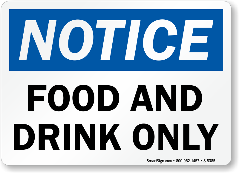 Food And Drink Only Sign SKU S 8385 MySafetySigncom