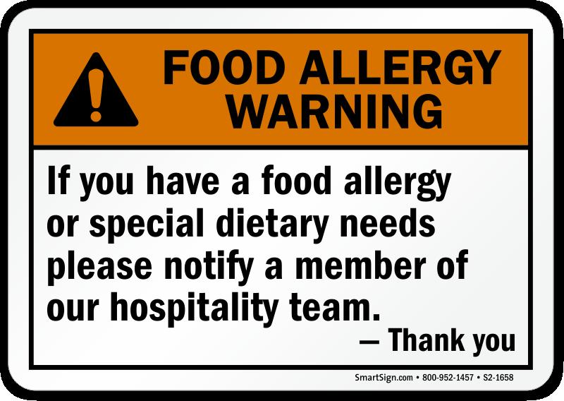 Food Allergy Warning Signs Mysafetysign Com
