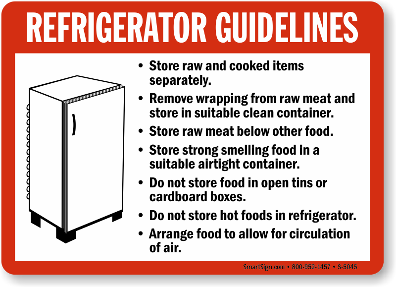 Refrigerator Guidelines Food And Kitchen Safety Sign Sku S 5045