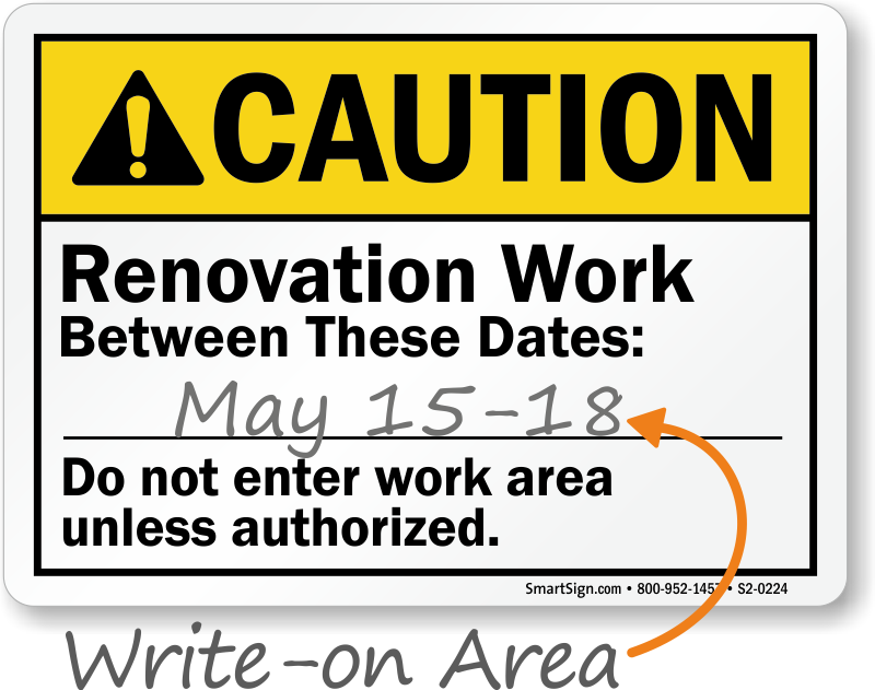 writing area sign