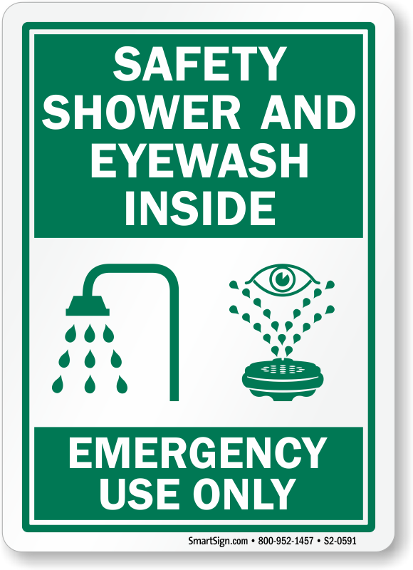 Cartoon Safety Shower And Eyewash Station Pictures