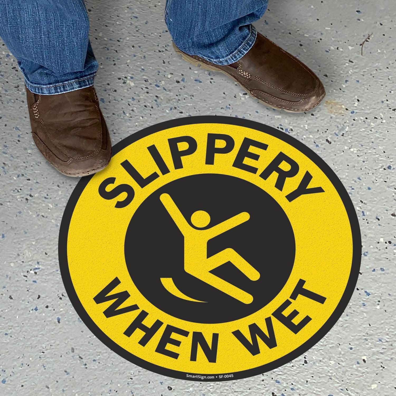 Slippery When Wet Adhesive Round Floor Sign Anti Skid