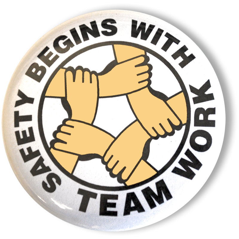 Safety Begins with Teamwork Button Sign, SKU - BU-0005 Under Construction Signs