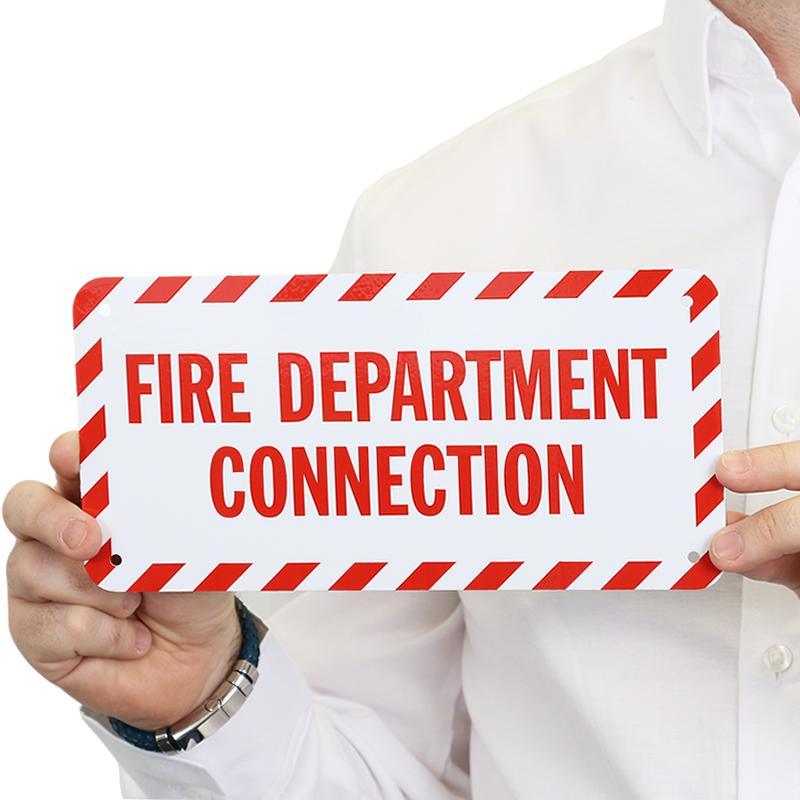 Fire And Emergency Label - Fire Department Connection ...