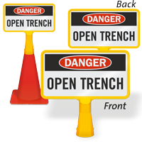 Danger Open Trench ConeBoss Sign