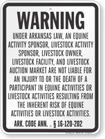 Arkansas Equine Liability Sign