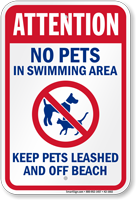 Attention No Pets In Swimming Area Sign