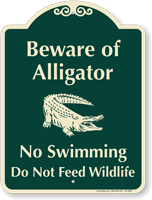 Beware Of Alligator, No Swimming Signature Sign