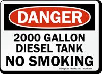 2000 Gallon Diesel Tank No Smoking Sign