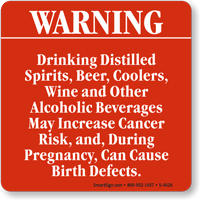Warning Drinking Distilled Spirits, Beer, Coolers Sign
