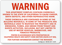 Apartment Complex Contains Chemicals that Cause Cancer Sign