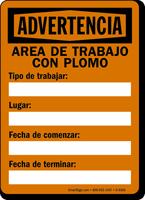 Area De Trabajo Con Plomo Spanish Warning Sign