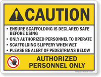 Authorized Personnel Only ANSI Caution Sign