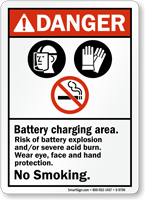 Battery Charging Area ANSI Danger Sign