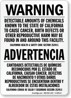 Bilingual California Prop 65 Warning Sign
