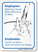 Bilingual Employees Wash Your Hands Sign
