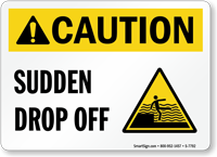 Caution Sudden Drop Off Pool Sign