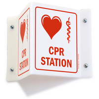 CPR Station Sign with Medical Symbol Projecting Sign