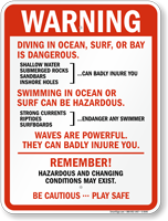 Diving in Ocean, Surf, Bay is Dangerous Sign