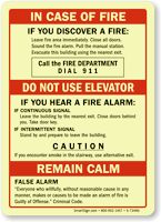 Upon Hearing Fire Alarm, Dial 911 Sign