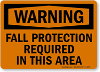 Warning Fall Protection Required Sign