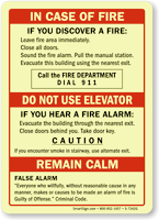 In Case Of Fire, Caution, Remain Calm Sign