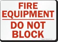 Fire Equipment Block Sign
