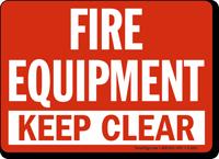 fire equipment keep clear sign, sku: s 1615 mysafetysign.com
