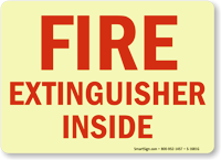 Fire Extinguisher Inside (red on white)
