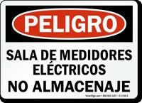 Spanish Electric Meter Room No Storage Sign Osha Danger
