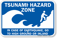 Tsunami Hazard Zone: In Case Earthquake Sign