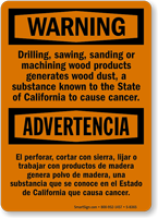 Warning Drilling, Sanding Causes Cancer Bilingual Sign
