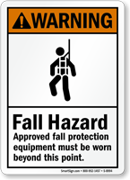 Approved Fall Protection Equipment Must Be Worn Sign