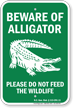 Beware of Alligator, North Carolina Alligator Warning Sign
