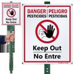 Bilingual Danger Pesticides Keep Out Lawnboss Sign