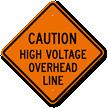 Caution High Voltage Overhead Line Sign