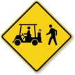 Golf Cart And Pedestrian Crossing Sign